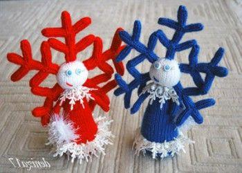 Девочка – снежинка, связанная спицами. Вязание спицами.