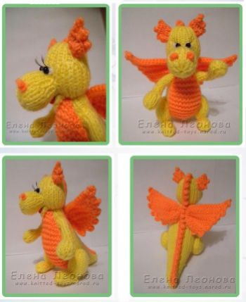 Вязаный спицами дракончик малыш. Вязание спицами.