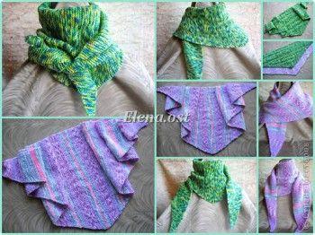Бактус – треугольный шарф-косынка МК. Вязание спицами.
