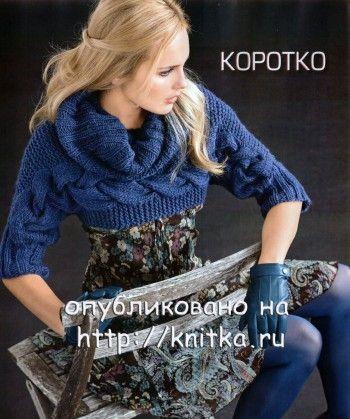 Короткий пуловер, связанный поперёк. Вязание спицами.