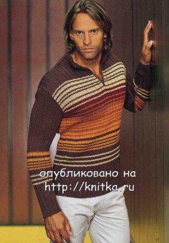 Пуловер мужской с застежкой поло, связан спицами