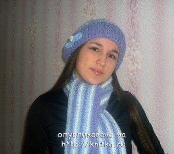 Вязаная комплект: берет и шарф. Вязание спицами.