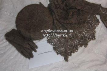 Перчатки, берет и косынка из пуха. Вязание спицами.