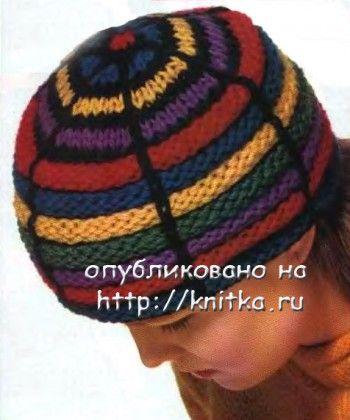 Полосатая шапка. Вязание спицами.