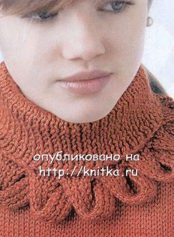 Интересная отделка воротника спицами,  Вязание для женщин
