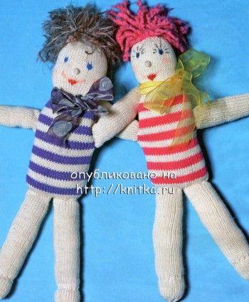 Вязаная спицами куколка. Вязание спицами.