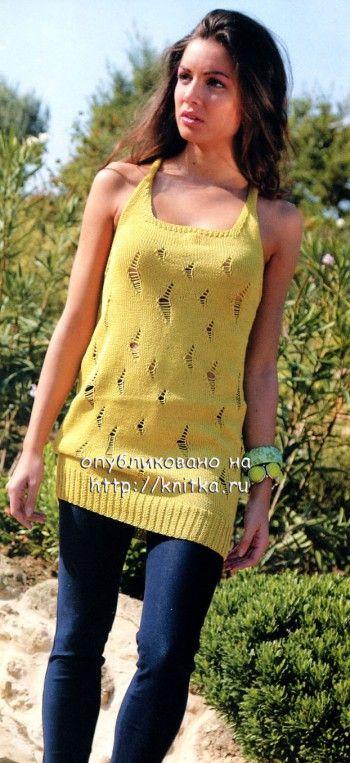Желтая туника спицами для пляжа