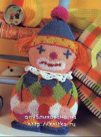 Вязаная игрушка клоун. Вязание спицами.