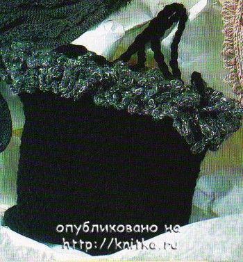 "Черная сумочка с ""опушкой"". Вязание спицами."