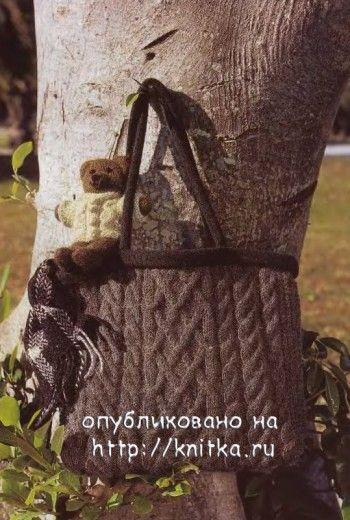 Коричневая сумка с косами. Вязание спицами.