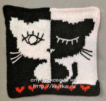 """Картина """"Спящий кот"""". Вязание спицами."""