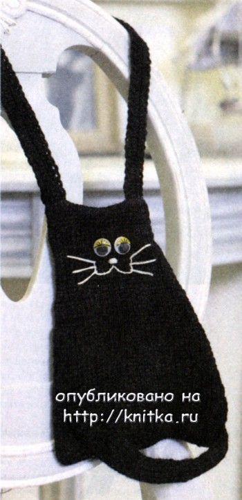 "Сумочка ""черная кошка"". Вязание спицами."