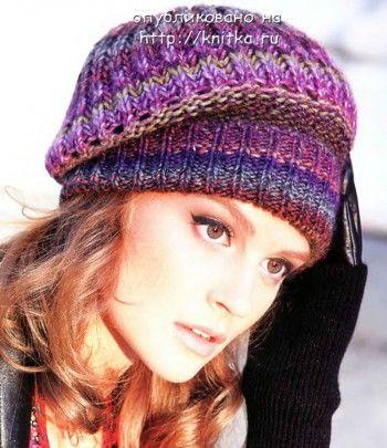 Разноцветная шапочка – берет. Вязание спицами.