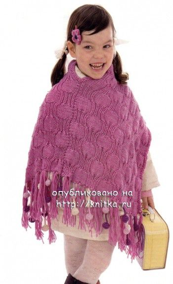 Детское пончо с кистями. Вязание спицами.