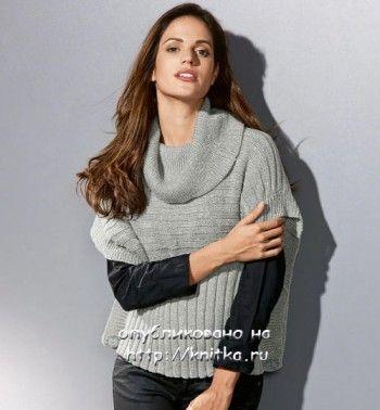 Пуловер – пончо. Вязание спицами.