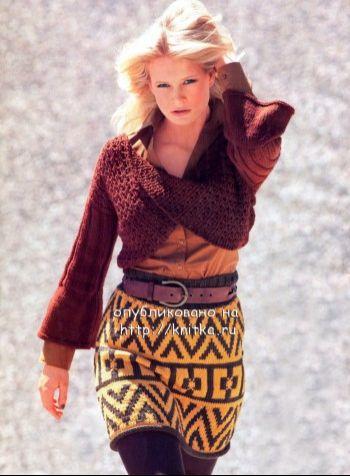 Пуловер с перекрученным передом и юбка. Вязание спицами.