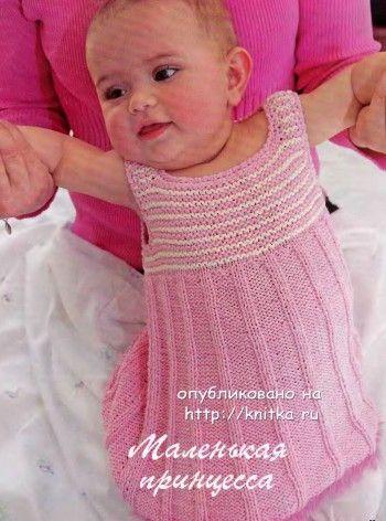 Розовое платье – сарафан. Вязание спицами.