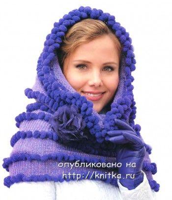 Сиреневый шарф – труба (снуд). Вязание спицами.