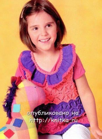 Полосатая туника – платье. Вязание спицами.