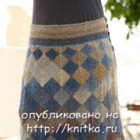 Мини-юбка спицами