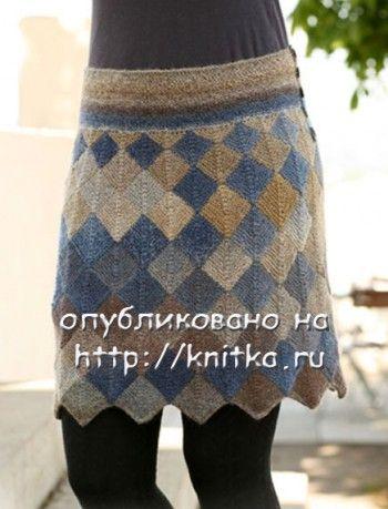 Мини - юбка спицами