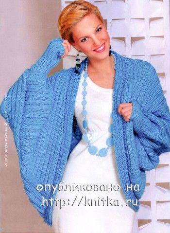 Голубой жакет, связанный спицами. Вязание спицами.