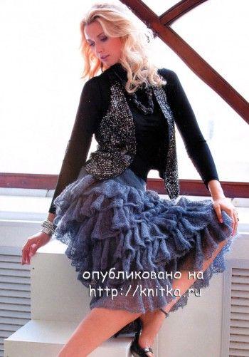 Женская юбка с воланами. Вязание спицами.