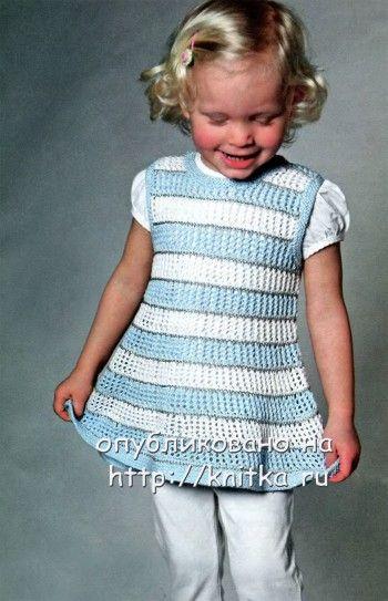 Ажурное платье для девочки. Вязание спицами.