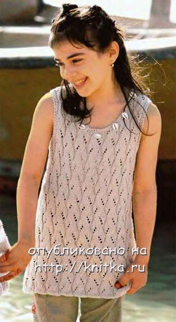 Летняя туника для девочки. Вязание спицами.