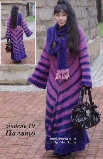 Пальто теплое Лена, связано спицами для женщин
