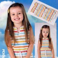 Вязаное детское платье с цветными полосами