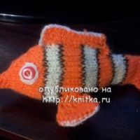 Вязаная спицами игрушка рыбка Немо