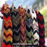 Цветные шарфы, связанные спицами