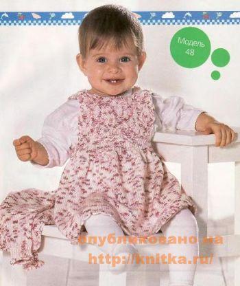 Детский сарафан. Вязание спицами.