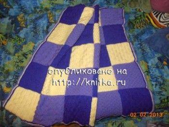 Рельефное одеяло с квадратами. Вязание спицами.