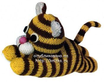 Вязаная игрушка – тигренок. Вязание спицами.