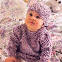 Сиреневый пуловер и шапочка