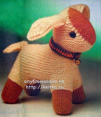 Вязаная игрушка ягненок. Вязание спицами.