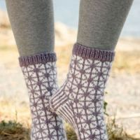 Носки вязаные с геометрическим узором