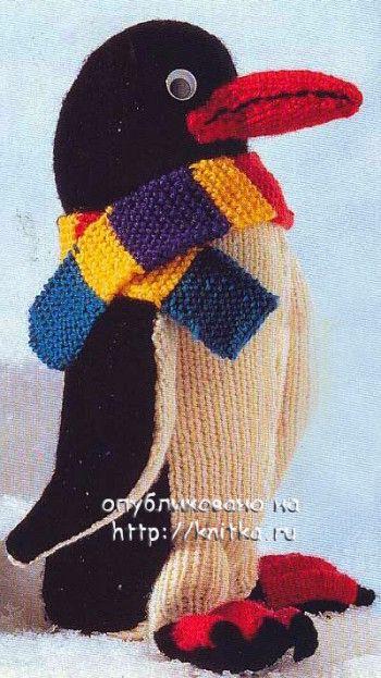 Вязаная игрушка пингвин Пит. Вязание спицами.