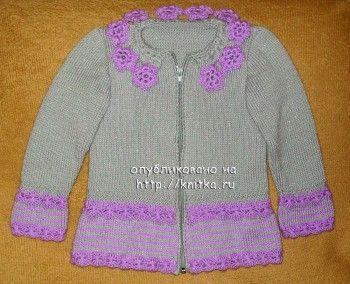 Кофточка для девочки – работа Ольги Пуша. Вязание спицами.