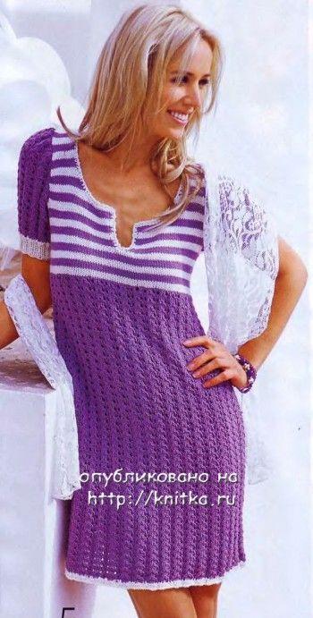 Женское платье спицами. Вязание спицами.
