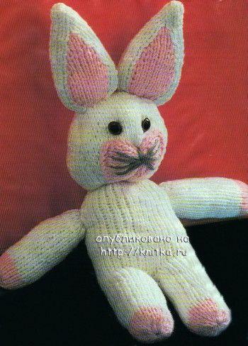 Вязаная игрушка зайчик. Вязание спицами.