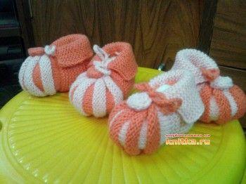 Пинетки – зефирки. Вязание спицами.