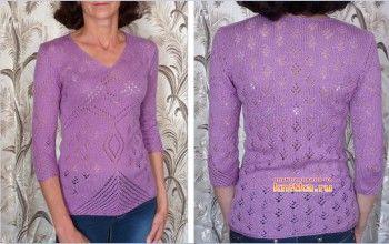 Фиолетовый джемпер – работа Марины. Вязание спицами.
