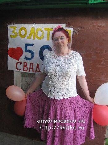 Вязаная юбка – работа Людмилы. Вязание спицами.