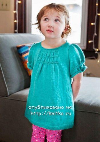 Платье для девочки. Вязание спицами.