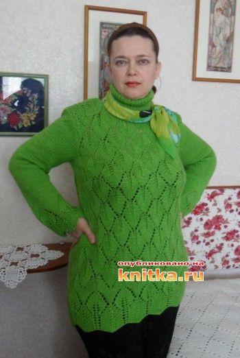 """Свитер-туника """"Зеленые листья"""". Вязание спицами."""