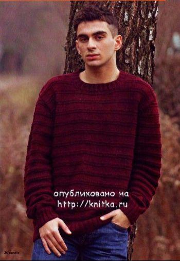 Мужской свитер спицами. Вязание спицами.