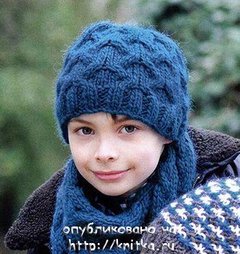 Шапка и шарф для мальчика. Вязание спицами.